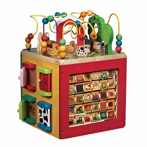 Battat – Wooden Activity Cube – Discover Farm Animals Activity Center