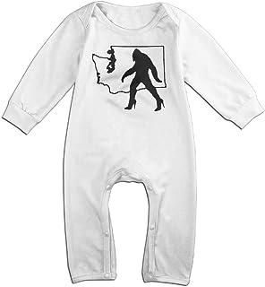 Mri-le1 Newborn Baby Long Sleeve Jumpsuit Retro Bigfoot Kid Pajamas