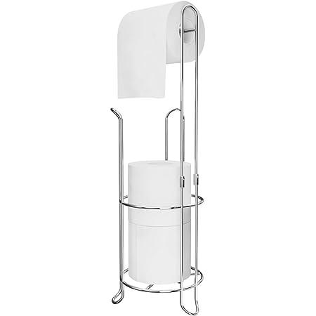 Ulable Support de rouleaux de papier toilette sur pied pour salle de bains, peut contenir 4rouleaux de papier toilette, 59,2 x 16cm, argent