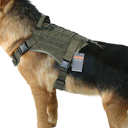 EXCELLENT ELITE SPANKER Tactical Dog Harness Military Dog Harness Working Dog Vest Molle Adjustable Training Vest Patrol K9 Harness Large with Handle(Ranger Green-XL)