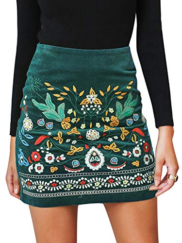 BerryGo Women's High Waist Embroidered Mini Skirt Boho Floral Pencil Skirt Dark Green,L
