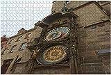 Reloj astronómico de Praga de 1000 piezas-Trigerred conocido como Orloj durante el verano Rompecabezas de madera DIY Rompecabezas educativos para niños Regalo de descompresión para adultos Juegos cre