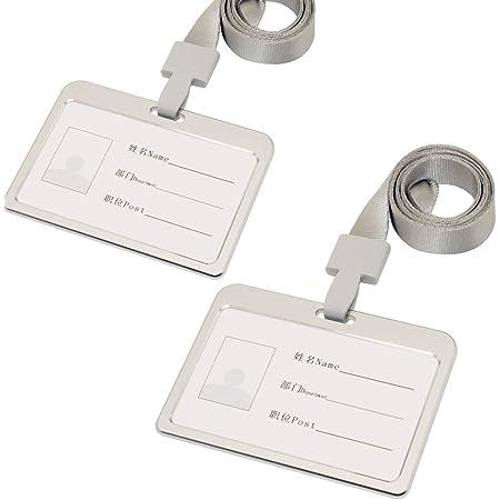 Lot de 2 porte-badges en alliage d'aluminium avec cordon de cou pour employé de bureau Horizontal Argenté.