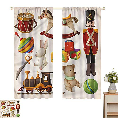 Wear Pole Curtains Curtains for Windows Wooden Toy Rocking Horse Drum Room Darkening Noise Reducing Set of 2 Panels W55 x L45