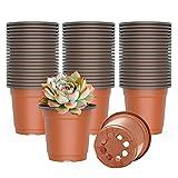 WANBAO 4 Inch Planter Nursery Pots, Plastic Starter Pots for Plants Flower Seedling, 60pcs.