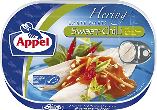 Appel Heringsfilets Sweet-Chili, 10er Pack Konserven, Fisch in Sweet-Chilisauce