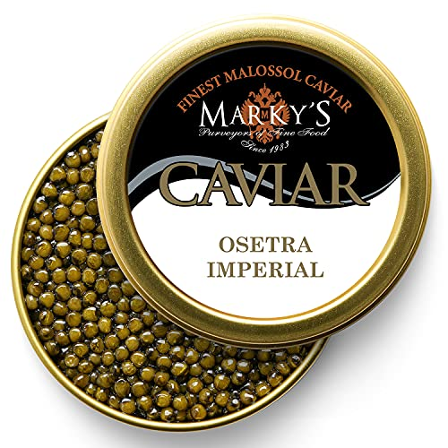 Marky's Imperial Osetra Sturgeon Black Caviar – 1.75 oz Malossol Russian Ossetra Black Roe – GUARANTEED OVERNIGHT