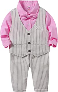 Fairy-Baby S7552:LightBaby Boys 3-pc Clothes Set Long Sleeve Cotton Shirt with Matching Striped Vest and Pants Toddlers Gentleman Outfit Blue,70