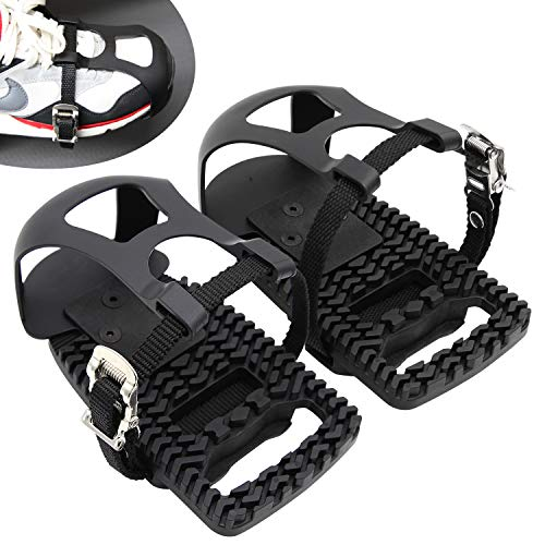 Adjustable Pedal Adapter Pedals Toe Clips Cage with Straps for Peloton Bike And Peloton Bike +