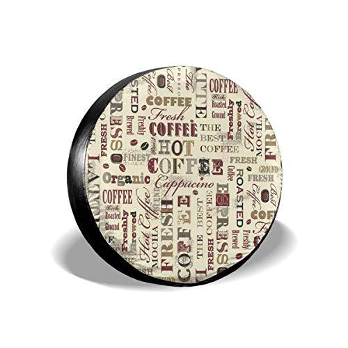 LYMT Spare Tire Cover Universele Wiel Tire Cover Protector - Verse Hete Koffie Recepten Fit voor Trailer, RV, SUV en Veel Voertuig 14-17inch