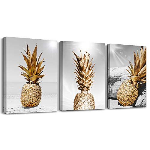 Canvas Wall Art For Bar Kitchen Living Room Office Bathroom Home Decoration Board Black And White Beach Scenery Golden Pineapple Pictures Artwork Restaurant Wall Decor Ready To Hang 12x16inch 3 Piece