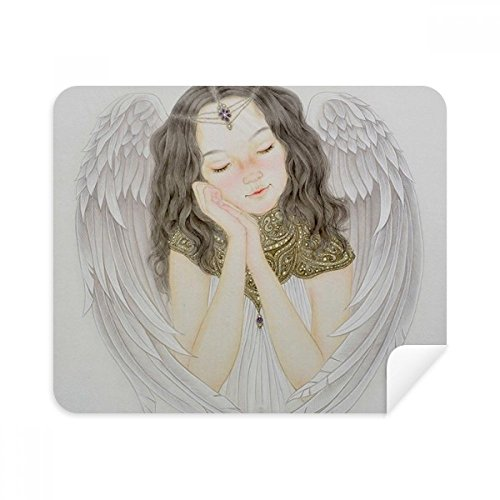 DIYthinker witte vleugel mooi meisje Chinese schilderij telefoon scherm reiniger bril schoonmaken doek 2 Stks Suede stof
