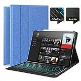 Feelkaeu Clavier AZERTY Bluetooth Rétroéclairé 7 Couleurs, Housse Coque pour iPad...