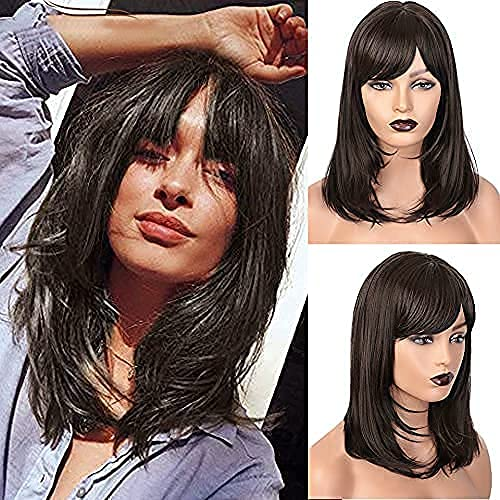 ColorfulPanda Pelucas marrones Pelucas de pelo largo Peluca de cosplay Pelucas sintéticas para mujer de 20 pulgadas (Marrón)
