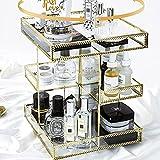 MBYW Organizador de Maquillaje de Gran Capacidad, Cajas giratorias de Almacenamiento de cosméticos con 3 Capas, vitrinas de cosméticos para Maquillaje, Estante Giratorio