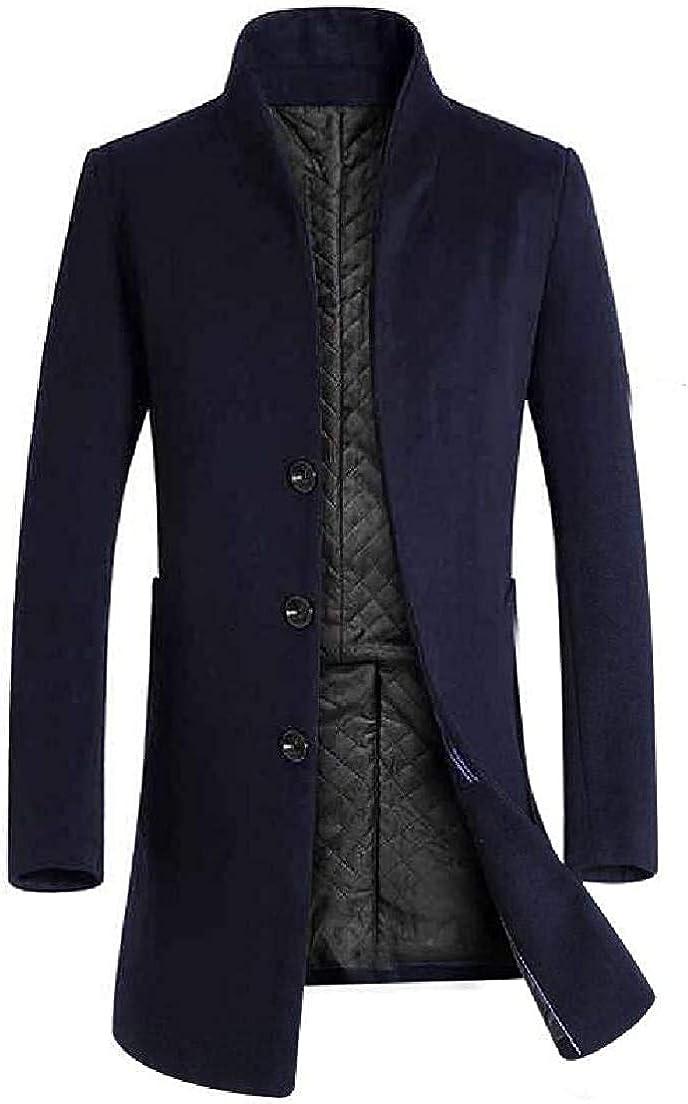 TIMOTHY BURCH Men Long Jacket Stand Collar Wool-Blend Single-Breasted Windbreaker Topcoat