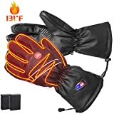 Refial Heated Gloves for Men Women, Winter Warm Leather Gloves Rechargeable Battery Gloves Touch Screen Thermal Gloves Ski Motorcycle Cycling Gloves Hand Warmer