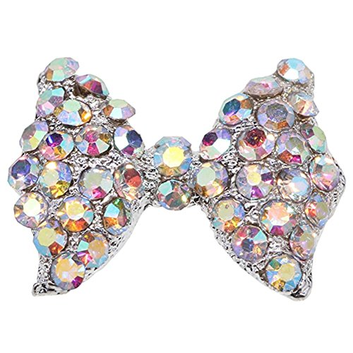 10x 3D Pink Alloy Rhinestone Bow Tie Butterfly Nail Art tip Glitter Decoration by Broadfashion