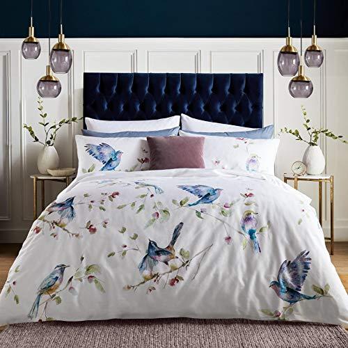VOYAGE MAISON Spring Flight Blue White 220TC 100% algodón Satén King Size (funda nórdica de 230 cm x 220 cm) Juego de ropa de cama de 5 piezas