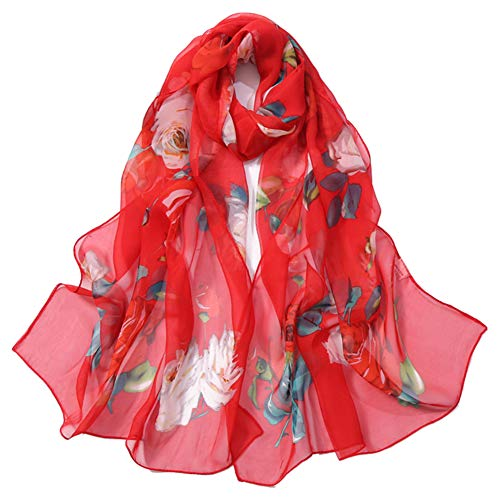 Cupcinu Pañuelos Cuello Mujer Bufanda Mantón Bufanda Impresa Fular Toalla de Playa Primavera Verano Otoño Invierno Fiesta Playa Uso Diario (Rojo) ⭐