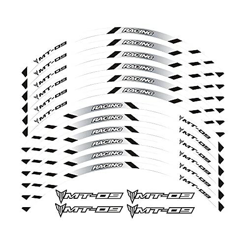 Elegantes Adhesivos Impermeables para Llantas, adecuados para Llantas con un diámetro de 17 Pulgadas, Hermoso Papel para decoración de Llantas For Yamaha MT09 All Years (2-Blanco)