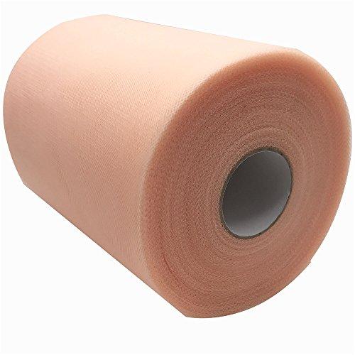 Rotolo di tessuto tulle da 15,2 cm x 91,4 m, per realizzare runner da tavolo, fiocchi decorativi per sedie, gonne di tutu, decorazioni per matrimoni, feste e pacchi regalo shell pink