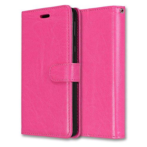 Laybomo Schuzhülle für Sony Xperia E5 Hülle Ledertasche Weiches Gummi Silikon TPU Haut Beutel Schützend Stehen Bilderrahmen Brieftasche Schale Tasche Handyhülle für Sony Xperia E5 (Rosa)