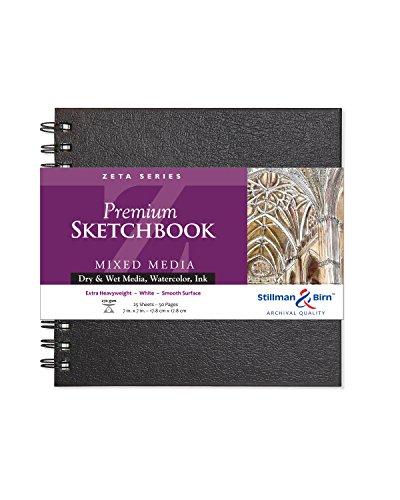 Stillman & Birn Zeta Series Wirebound Sketchbook, 7' x 7', 270 GSM (Extra Heavyweight), White Paper, Smooth Surface
