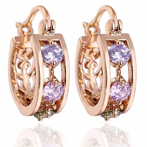 Yazilind elegante diseño hueco 14K Gold Filled Inlay Riund Aretes colgantes cuelgan Colorful Cubic Circonita para la Mujer