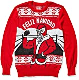 Hybrid Apparel Men's Ugly Christmas Sweater, Lucha/Red, Large