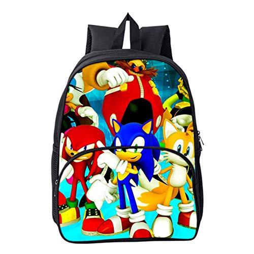 HGYYIO 3D Anime Sonic Impreso Mochila de la Escuela Primaria/Mochila para Niños niñas 6-12 años de Edad Impermeable Nylon Cartera Niños Viajar Mochila,C