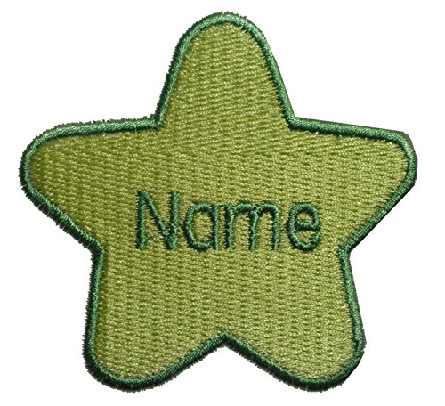 Parche en forma de estrella con nombre personalizado bordado, Green (size 74x78mm), 1 Sew on(permanent solution)