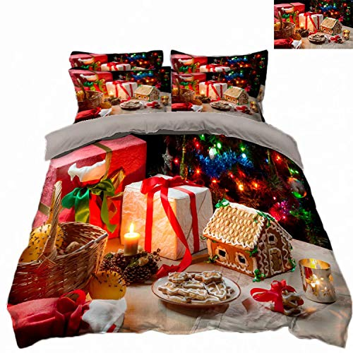 ATOLY Luxury Best, Softest, 4-Piece Duvet Cover Flat Bed Sheets Set,King,Merry Cookies