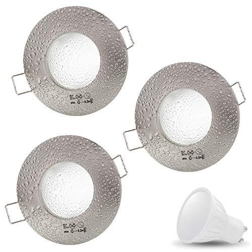 3er Set AQUA IP44 230V LED SMD 7W Warmweiß Decken Einbaustrahler Einbauspots Deckenspots, Badezimmer Feuchtraum Außenbereich (Matt-Chrom) inkl. GU10 Fassung mit 15cm Anschlusskabel [Einbautiefe:10cm]