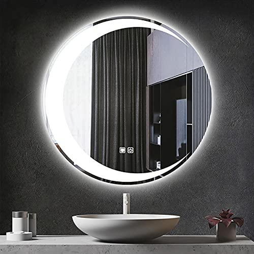 WXZX Espejo De Tocador De Montaje En Pared, Espejo con Luz LED para Baño, Dormitorio, Tocador, Elegante Espejo Retroiluminado Redondo, Espejos Iluminado con Antivaho Y Botón Táctil