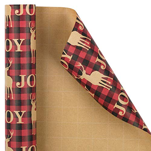 RUSPEPA Christmas Wrapping Paper, Kraft Paper - Red Plaid with Kraft Reindeer Design - 30 inches x 32.8 feet