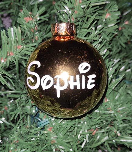 Lifeislikearainbow - Ornement de Sapin - Boule de Noël en Verre personnalisée avec prénom - 6,7cm diamètre (Or)
