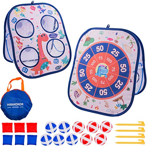 Bean Bag Toss Game for Toddlers, Cornhole Outdoor toys for Kids Ages 3-12, Indoor Dart Board for Kids with Sticky Balls, 3 in 1 Foldable Cornhole Board Games, Gift for Boys Girls Birthday Christmas