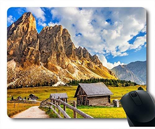 Alfombrilla de ratón con Montaña Casa Cielo Nubes Naturaleza Paisaje Hermoso Neopreno Goma Estándar