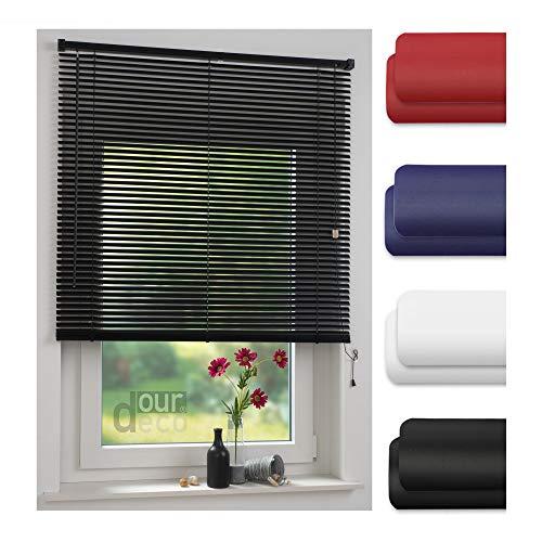 ourdeco® Jalousie aus PVC / 120 x 160 cm (Breite x Höhe) / Farbe schwarz/lichtdurchlässig bis Blickdicht/Einfache Montage an Wand oder Decke