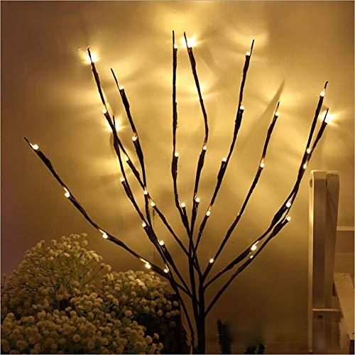 NAWEDA LED Branches Lights Artificial Willow Twig Lights for Decoration Warm White Battery Powered 20 Inches 20 LED - 2 Pack