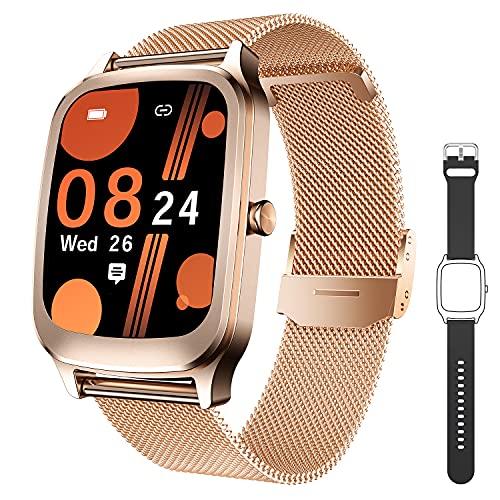 CatShin Smartwatch Donna Uomo Orologio Fitness con Cardiofrequenzimetro da Polso Contapassi Bussola Acitivity Tracker 1,65 Pollici Impermeabile Sportivo Smart Watch per Android iOS Smartphone(Oro)