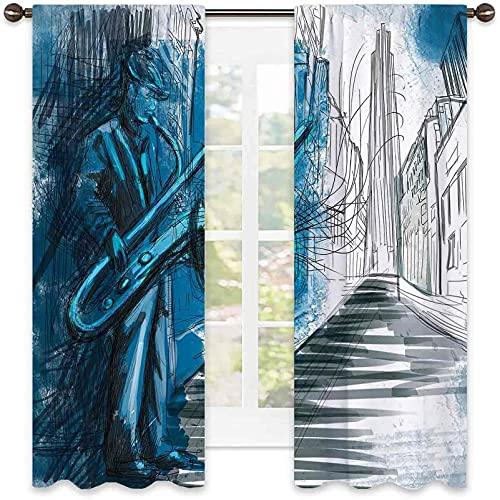 Music - Tenda oscurante al 99% per sassofono uomo che gioca da solo in Street at Night Vibes Grunge, per camera da letto, asilo, soggiorno, larghezza 42 x lunghezza 63 cm, blu scuro, nero e bianco