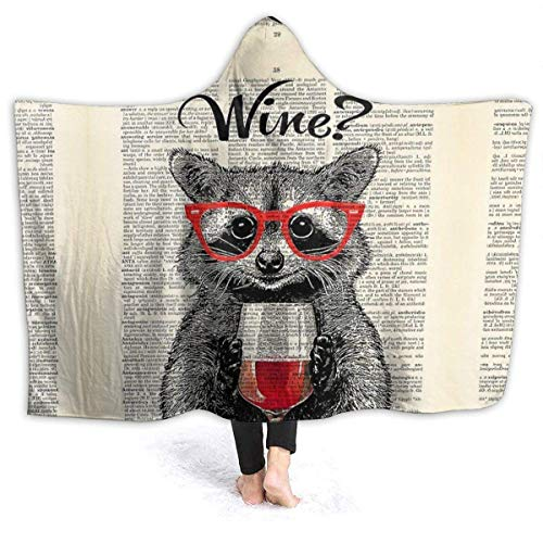 Manta con capucha y póster de mapache de vino tinto para exteriores, sudadera con capucha, bata de baño de felpa, manta de franela para sofá para dormir, regalo de 201 x 152 cm para Audlt Queen