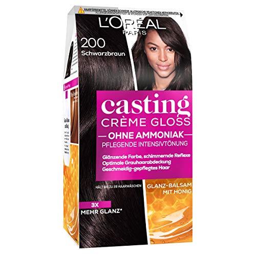 L'Oréal Paris Coloration ohne Ammoniak und ohne Silikone, Pflegende Intensivtönung mit Glanz-Reflex-Balsam, Casting Crème Gloss Haarfarbe, Nr. 200 Schwarzbraun (Braun), 1 Stück