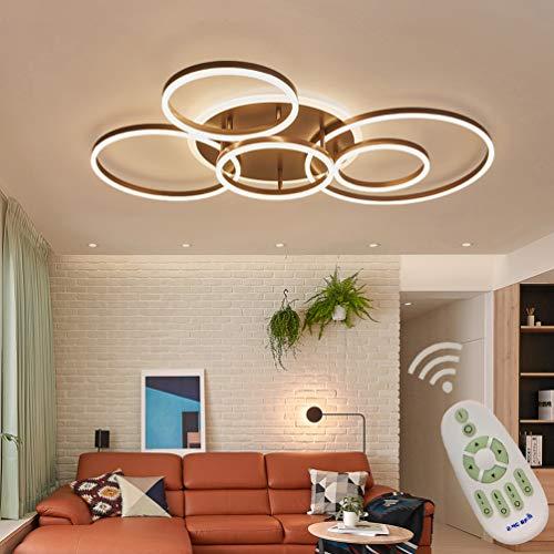 Modern Wohnzimmerlampe LED Deckenleuchte Dimmbar Wohnzimmer Deko Decke Lampen mit Fernbedienung, Luxus 6-ring Design Acryl-schirm Metall Kronleuchter für Esszimmer Küche Bad Leuchten L110*W80cm Braun