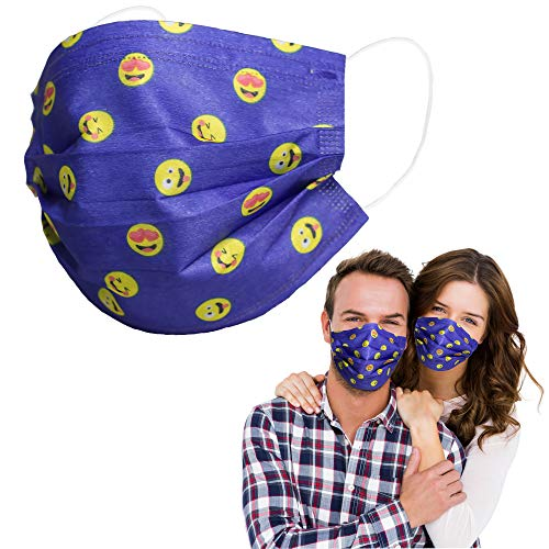 Disposable Face Masks with Cartoon Funny Cute Happy Smiley Emotion Emoticon Design Print,Adjustable Nose Clip,Breathable 3 PLY Safety Mask Cover Dustproof Protection for General Use Women,Men,Blue