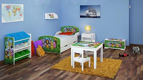 LEOMARK kinderkamer tienerkamer babykamer complete set 6-delig babybed boekensteun tafel met stoelen wandrek nachtkastje speelgoedkist wit jonge dieren Safari Zoo
