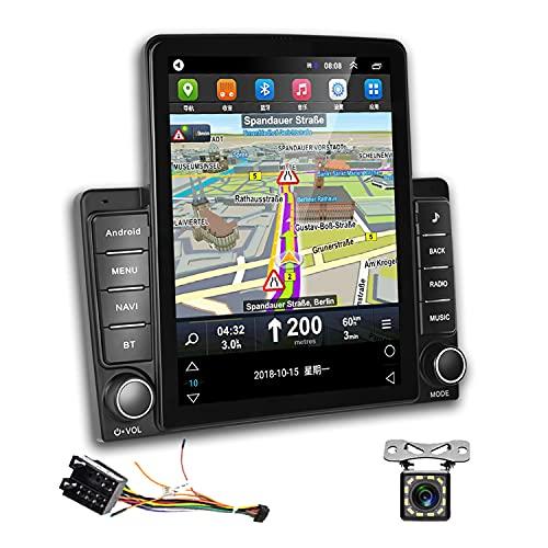 2 Din Android Autoradio GPS Podofo 9,5 Zoll vertikaler Touchscreen RDS FM Radio Bluetooth WiFi 3 USB-Spiegelverbindung Auto Radio Player + ISO-Adapterkabel + Rückfahrkamera