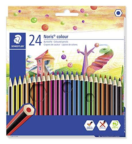 STAEDTLER matite colorate Noris Colour, confezione da 24 colori con tonalità differenti e mine resistenti in WOPEX, 185 C24